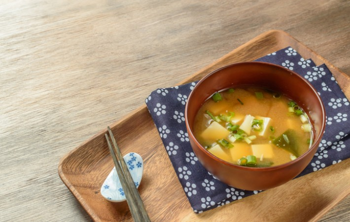 classic miso soup with tofu and wakame seaweed